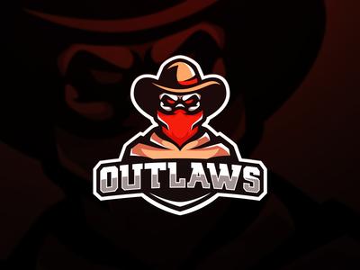 cowboy outlaws skull logo mascot