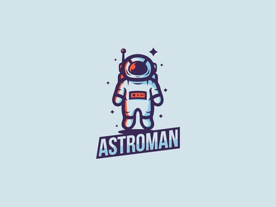 astronaut space mascot logo illustration