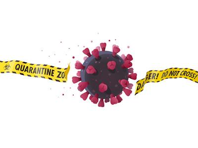 Coronavirus impact. Vector illustration vector biohazard outbreak pandemic epidemic break caution tape barrier borders disease macro sphere quarantine ban impact virus coronavirus