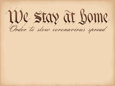 We stay at home (slogan is based on a Preamble 'We the People')