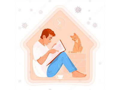 Stay home, read books sticker cozy illustration icon sitting cartoon vector quarantine epidemic disease coronavirus covid corona virus cat man book read home stay
