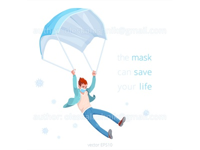 Mask can safe your life. royalty free isolated safety campaign epidemic cartoon concept covid corona prevention man vector medical life coronavirus parachute save wear mask virus