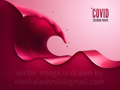 COVID. Second wave. awareness splash liquid tsunami surf big wave background royalty free template layer concept banner poster red wave second 2nd virus covid coronavirus