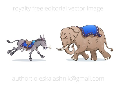 Donkey vs Elephant. Political caricature royalty free cartoon gallop political presidential usa vote fight candidate american us vector party republican democratic caricature debate election elephant donkey