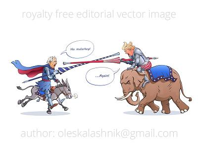 Biden vs Trump medieval knight vs competition duel joust presidential american us vector republican democratic caricature debate election elephant donkey candidate trump biden