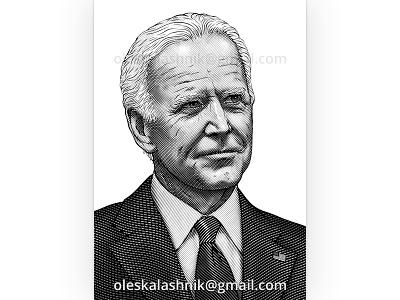 Joe Biden. Vector engraving. isolated us ink black poster hatching etching drawing face head smiling vector vintage inauguration america president portrait engraving biden