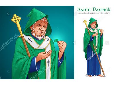 Saint Patrick. Imaginary appearance clipart royalty free concept hood blue green day portrait vector missionary priest clover celtic ireland shamrock druid bishop irish saint patrick