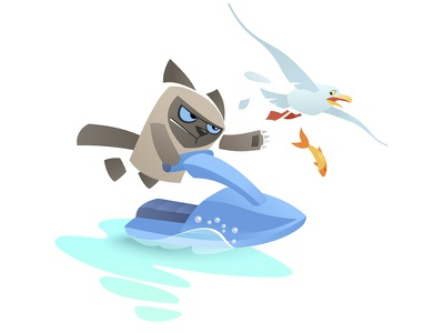Vector cat chases seagull grumpy pet animal cartoon character bird sea scooter extreme siamese jet ski seagull chase cat