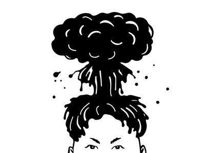 Nuclear haircut ink incitement concept war leader political caricature kim jong-un dictator north korea haircut nuclear