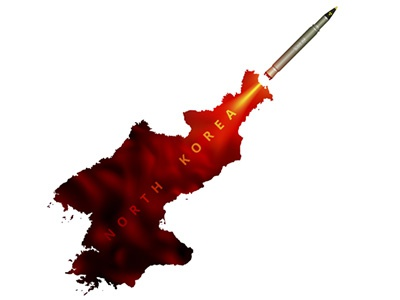 North Korean provocation of War concept vector warhead nuke bomb atomic nuclear launch rocket smoke missile north korea