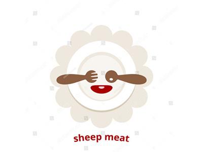 Sheep meat vector logo steak spoon fork plate restaurant eatery mutton lamb logo vector meat sheep