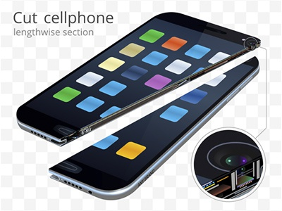 Cut cell phone. Realistic vector 3d closeup vector concept cross section mobile phone destruction split broken cell phone cut realistic