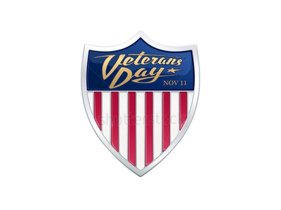 Veterans Day. Realistic vector badge