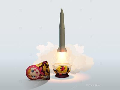 Matryoshka Missile rocket cold war military metaphor ballistic nuclear alert caricature soviet missile doll matryoshka
