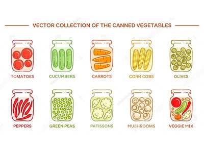 Pickled veggies marinade vector potted canned line flat icons set veggies greens vegetables pickled