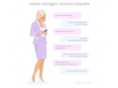 Business etiquette: instant messages sending presentation girl chat sms secretary flat lady woman messenger etiquette business