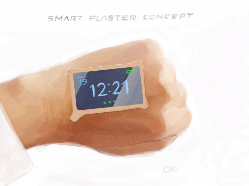 Smart plaster concept wrist hand gadget device concept flexible digital watch plaster sticker patch smart
