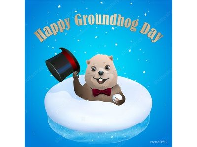 Hello ladies and gentlemen! poster greeting top hat snow spring forecast winter happy day woodchuck marmot groundhog