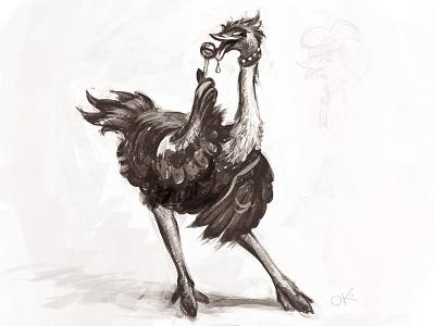 Flirting ostrich funny playful draft sketch character pose ostrich candy bird emu flirt
