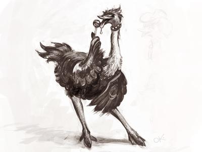 Flirting ostrich