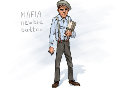 Mafia newbie 'button' racketeer retro fighter knuckle-duster cartoon caricature character man boy gangster mobster mafia