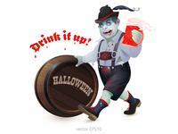Zombie Drinker. Vector poster