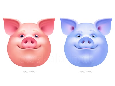 Usual and Freaky. Carnival piggy masks surprise avatar vector emoji bacon pork maskot face head 2019 chinese character animal swine piglet piggy hog boar mask pig