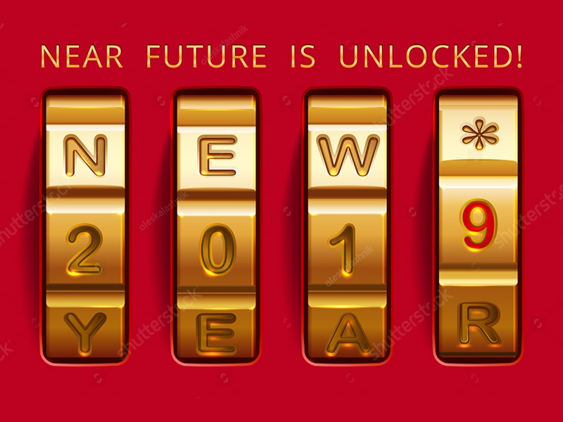 2019 code. Future is unlocked vector protection safe future combination greeting luxury red gold case lock christmas icon banner concept code year new happy 2019