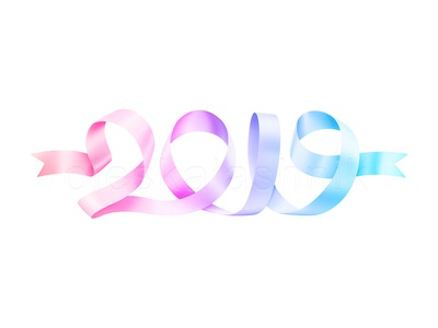Streamer in the  shape of 2019 date concept christmas happy date pink logo vector isolated serpentine streamer bright colorful ribbon calligraphy design banner year new 2019 royalty free