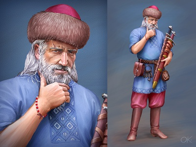 Russian Weapon Trader art concept retro realistic cg painting illustration standing posing beard character game picture warrior ancient medieval russian slavic sword trader