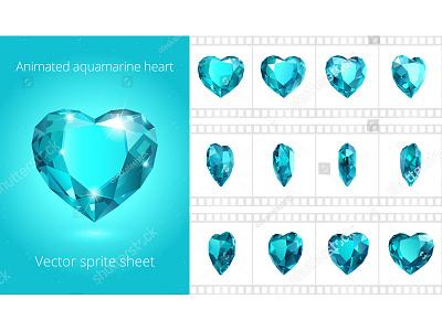Rotating aquamarine heart frames sequence crystal video html5 flash gif vector loop spin rotate animated animation jewelry jewel gemstone gem valentine aquamarine heart