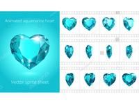 Rotating aquamarine heart