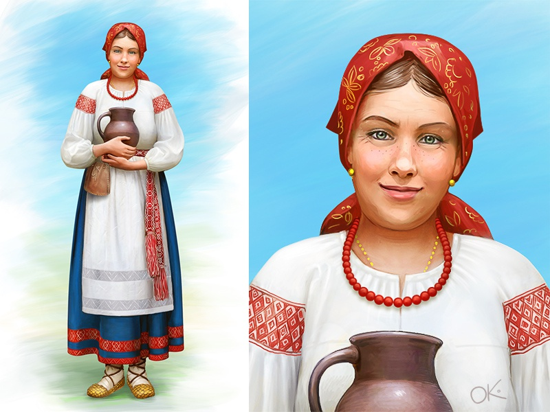 Russian medieval peasant woman cg headscarf apron culture hictoric character concept painting standing folk decorated dress traditional peasant girl woman cook medieval russian slavic