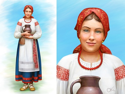 Russian medieval peasant woman