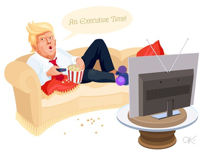 Executive Time! leader time executive portrait lying popcorn relax president political vector caricature laziness lazy busy trump donald american america united states usa