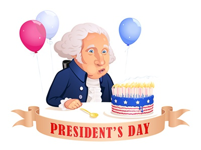 President's Day. Vector sticker portrait sticker political caricatire vector cartoon air balloons balloon america american united states of america united states usa day president candles blow out birthday cake washington george