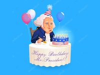 Old Birthday Boy. Vector image for the President's Day.