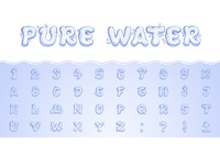 Pure Water. Hand drawn vector font
