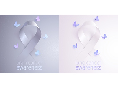 Ribbons of awareness: brain and lung cancer realistic vector white gray banner badge volunteer survivor month icon poster sticker design butterfly cancer lung tumor brain awareness ribbon