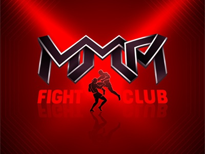 Mixed letters of Mixed Martial Arts flying knee knock out sports show background aggressive red fightclub fighters mma martial arts mixed club fight design branding logo illustration concept vector