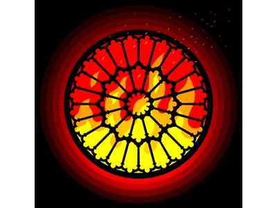 Burning Wheel of History vector icon flame gothic medieval france architecture cultural heritage protect preserve awareness cathedral notre dame notre rose window fire history wheel burning