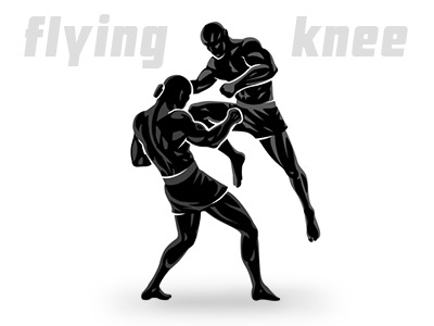Flying Knee. MMA fighters illustration image mma kickboxing sport vector silhouettes fighter fight combat hitting jump flying knee strike kick boxing arts martial mixed