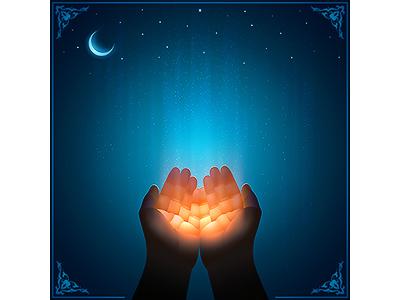 Muslim Prayer hands. Vector template with a copy space muslim vector god believe ramadan prayer night mubarak moon kareem islamic islam image handwritten hands sticker eid calligraphy realistic arabic