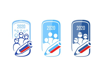 Census Campaign 2020 questionnaire census russian frame 2020 logotype awareness sticker icon app concept family people pencil online phone smartphone vector logo population