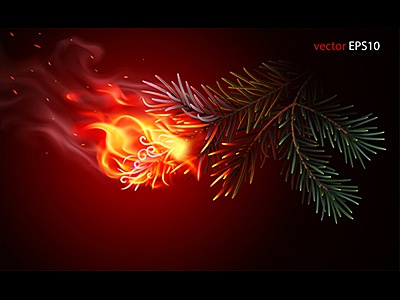 Wildfire is beginning. Realistic vector illustration siberia deforestation burning poster gradient mesh twig disaster branch needles flame fir cedar pine fire forest wildfire illustration realistic concept vector