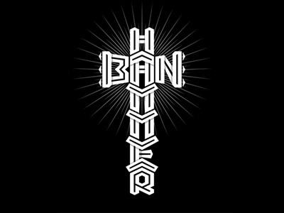 Ban Hammer logo tattoo lettering forbidden block moderator administrator censor admin vector black gothic cross meme concept gavel maul banhammer hammer ban