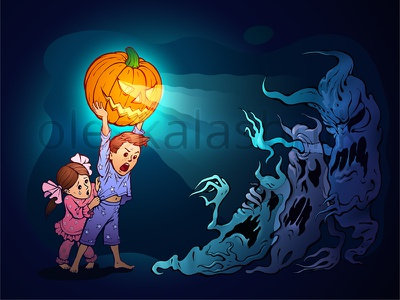 Get away from my sister, f**king nightmares! halloween pumpkin ghost monster children nightmare jack illustration scary lantern jack-o-lantern caricature scarecrow exorcism apparition save kids painting vector happy end