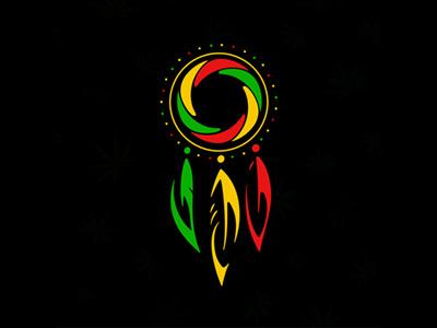 Rastafarian Dreamcatcher hypnotic vector feather ethnic twisted amulet design red green yellow rastaman rasta print tattoo stamp logo icon