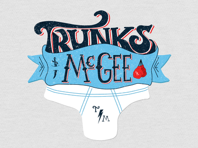 Trunks McGee logo screenprint hand lettering mma fighter