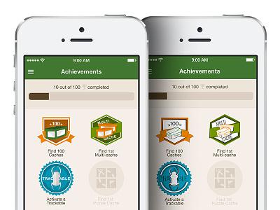 Achievements Screen Concept ios mobile design achievements badges gamification gps outdoors illustrations